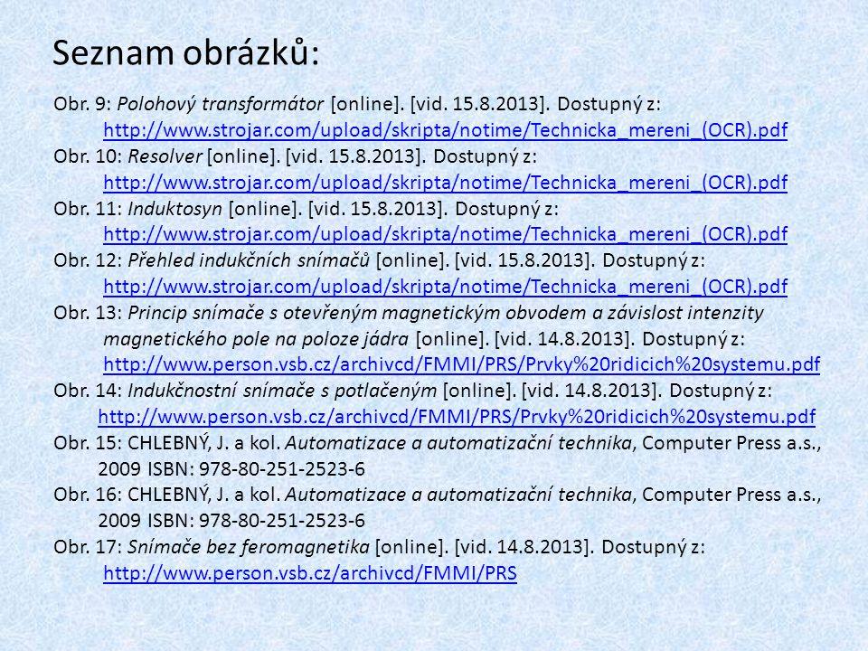 Seznam obrázků: Obr. 9: Polohový transformátor [online]. [vid. 15.8.2013]. Dostupný z: